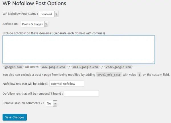 WP Nofollow Post Options