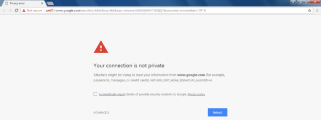 Your connection is not private google chrome