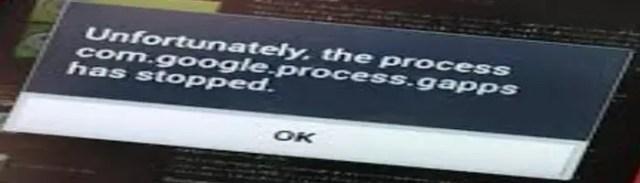 process com.google.process.gapps has stopped