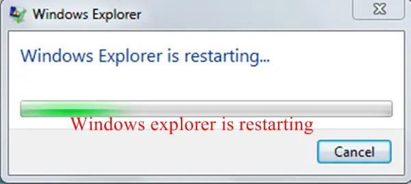 windows explorer is restarting windows 7