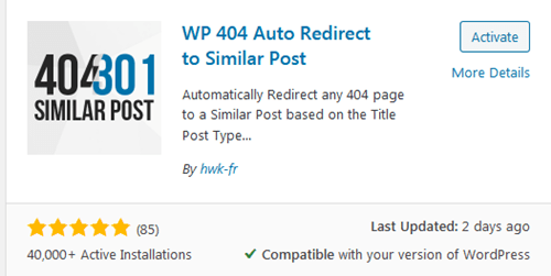 Activate WP 404 Auto Redirect to Similar Post plugin
