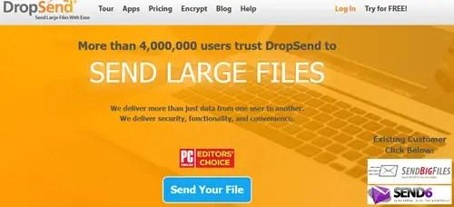 Send large files in Gmail via Drop send