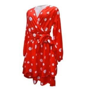Deep V-Neck Long Sleeved Polka-Dot Dress