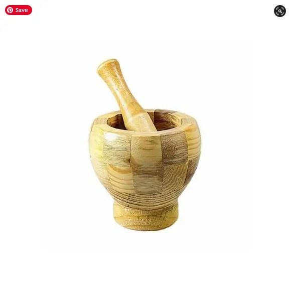 Small Bamboo Garlic Pounder Bowl And Stick Set
