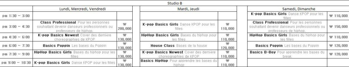 studio B planning cours de danse Def dance skool Blog Corée du Sud - the korean dream