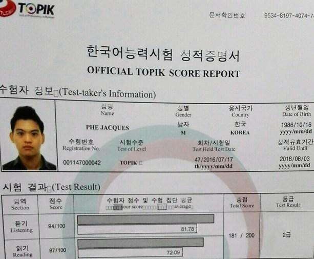 TOPIK resultat - blog coree du sud - the korean dream