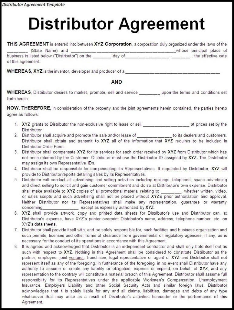 logging contract template - korean distributor sales territory or customer