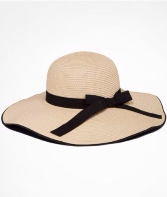 Bow Trimmed Woven Floppy Hat