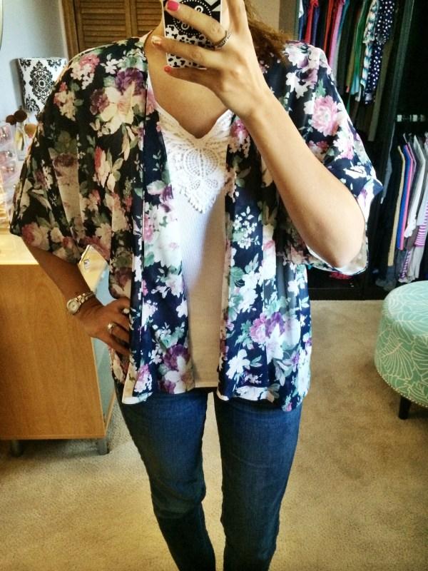 Aniston Floral Pint Kimono Cardigan