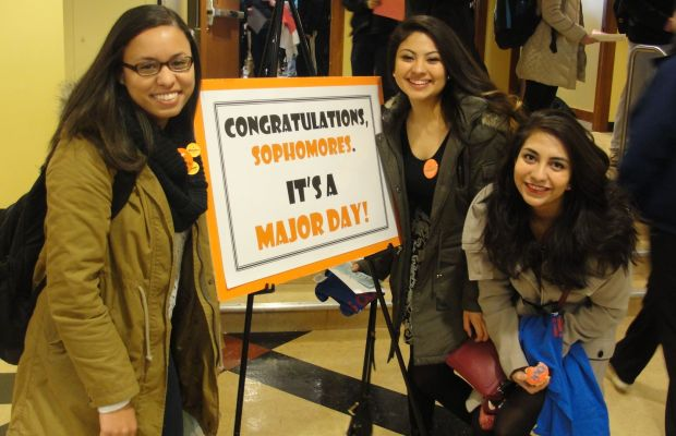 From Left to Right: Sophomores Janelle Grant, Maribel Blas, and Bianca Delgado on Declaration of Major Day. (Kalamazoo College)