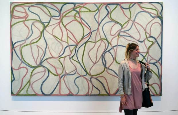 Charlotte Gavin with Study for the Muses (Eaglesmere Version) by Brice Marden (Hadley Harrison / The Index)