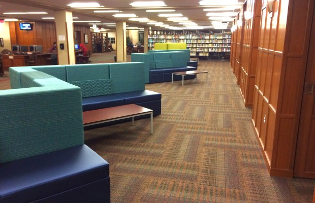 Empty urban furniture clashes with library décor [Andrew Parsons / The Index].