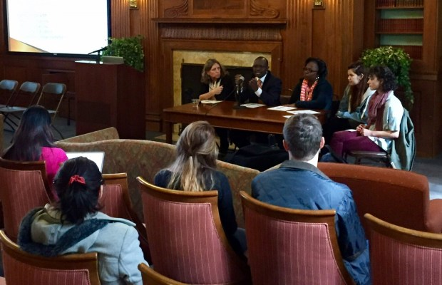 Global Alliance Institute on Civic Engagement Conference workshop led by Dr. Cunningham, Dr. Bainomugisha, Ms. Muyomba-Tamale, Paloma Campillo '19, and Hannah Muscara '19 [Kiran Cunningham / The Index].