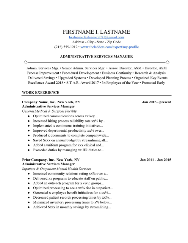 Program managers serve a strategic role within an organization's project management group. Administrative Services Manager Resume Example Free Download