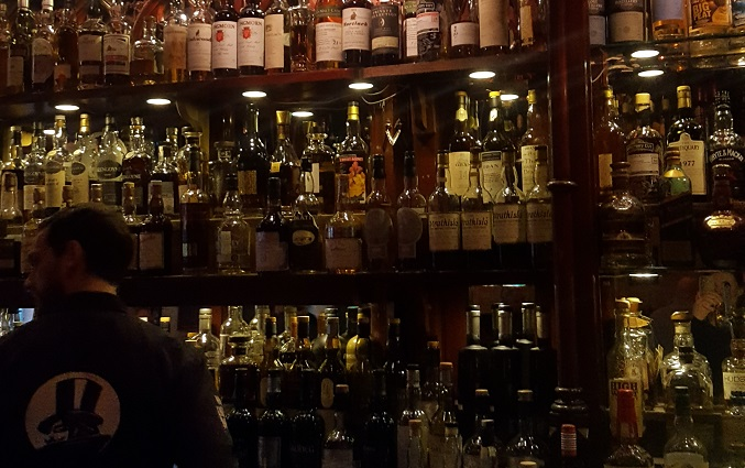 A selection of the whiskies available.