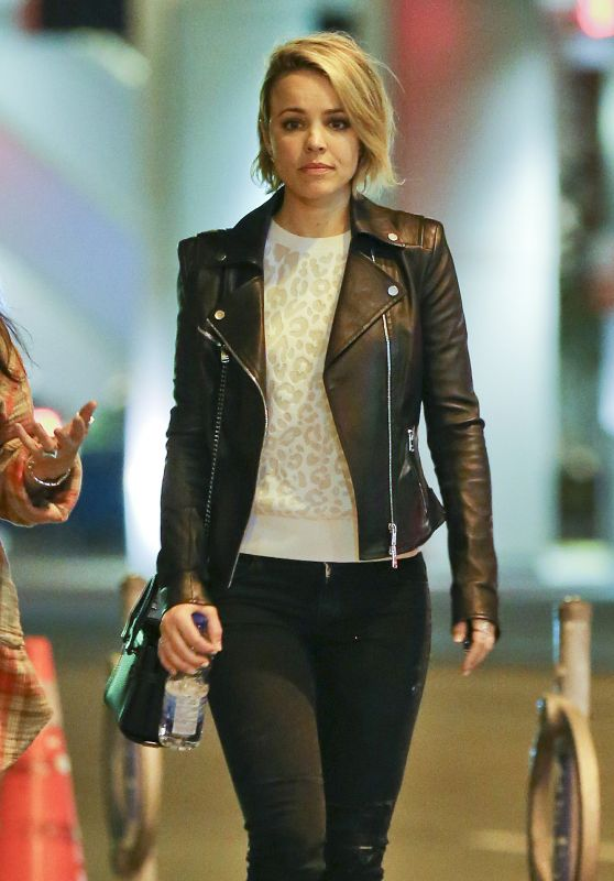 Rachel McAdams sports a white leopard print sweater under a moto jacket | The Updated Canadian Tuxedo: Canadian Celebs in Leopard Print | The Lady-like Leopard