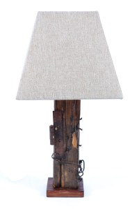 UNUSUAL WOODEN TABLE LAMP - - Table Lamps