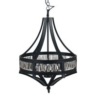 Beaded Electrified Ceiling Pendant Light in Black