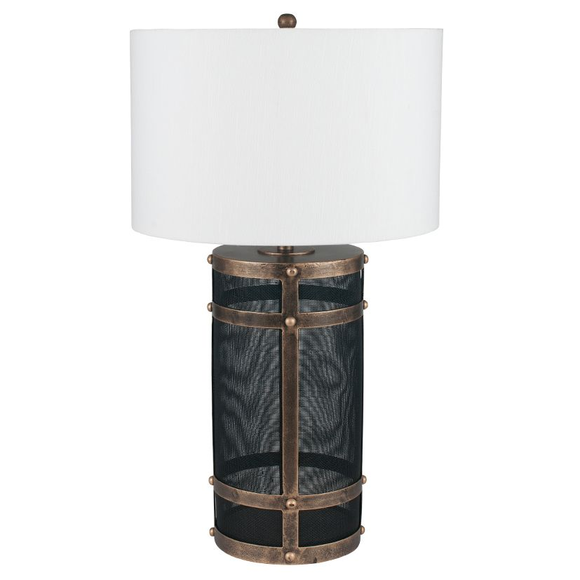 Black Mesh & Antique Gold Table Lamp with Shade