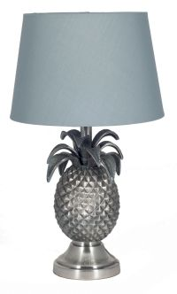 Pineapple In Antique Silver Table Lamp Base