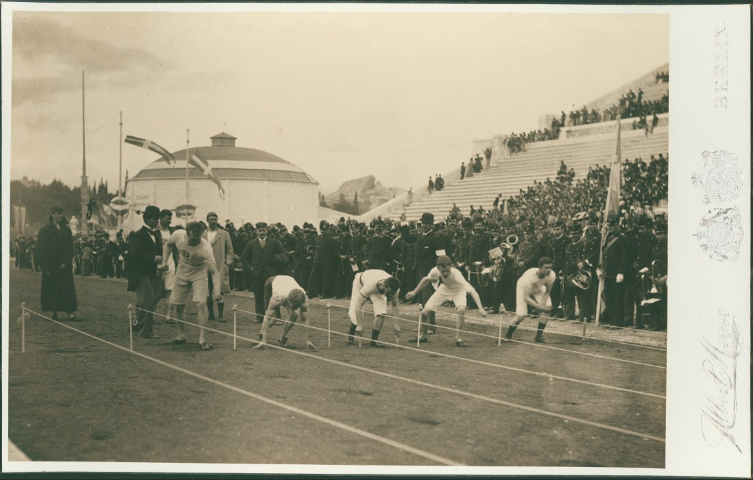 Preparing for the 100 meter sprint at the 1896 inaugural Olympic games