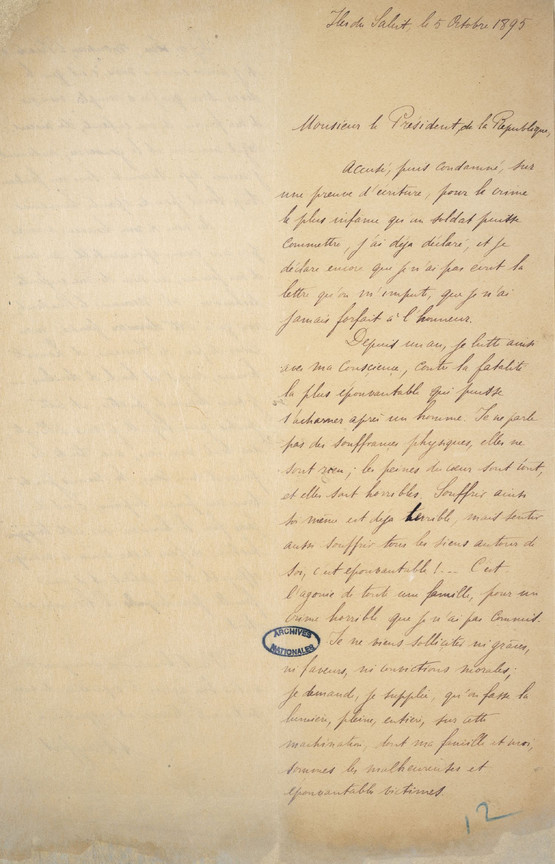 Letter from Alfred Dreyfus to Felix Faure, President of France