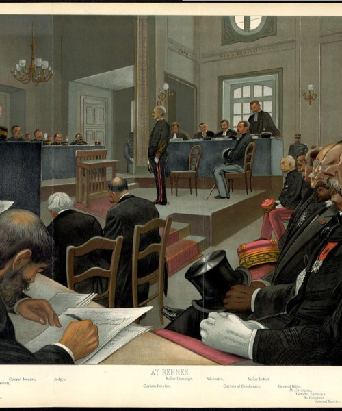 Alfred Dreyfus on trial at Rennes, Vanity Fair, 1899.