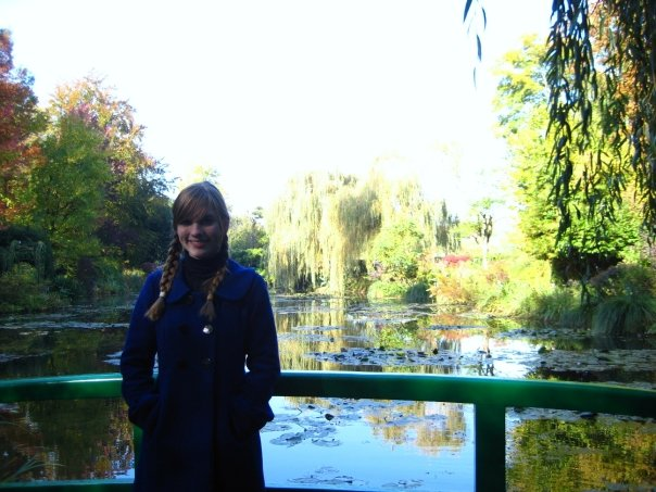 "19 year old me visiting Giverny. ""Look, ma, I'm on the Japanese bridge!"""