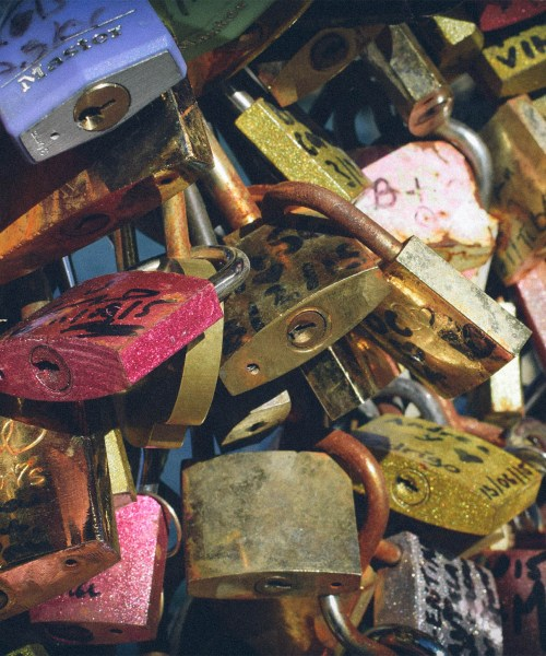 Love locks on the Pont des Arts bridge, October 2015 (close up)