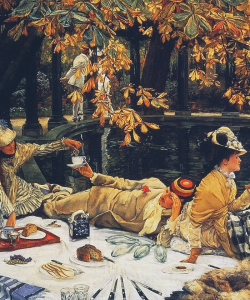 "A jaunty picnic with James Tissot. ""Holyday"""