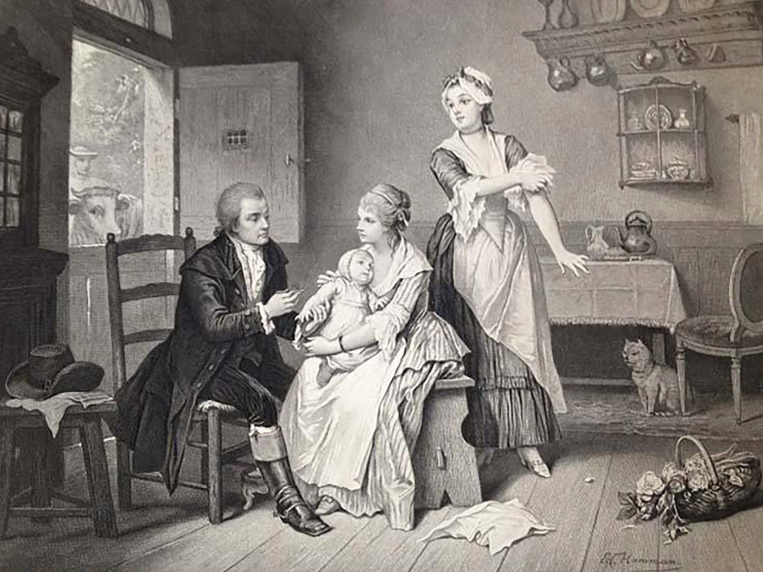 The history of the vaccine begins with Edward Jenner's cowpox treatment (illustrated 17th lithograph of a gentleman administering treatment to a rural milkmaid rolling up her sleeve)