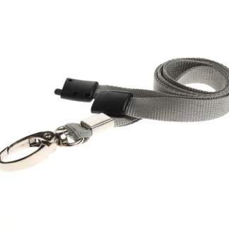 10mm Lanyard with Safety Breakaway & Metal Lobster Clip (Grey)