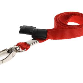 10mm Lanyard with Safety Breakaway & Metal Lobster Clip (Red)