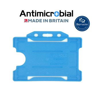 Antimicrobial Light Blue Rigid Plastic ID Holder