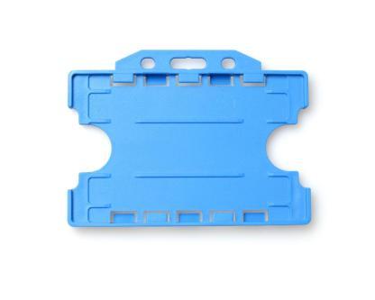 Double / Dual Sided Rigid Plastic ID Holders (Horizontal / Landscape) (Light Blue)