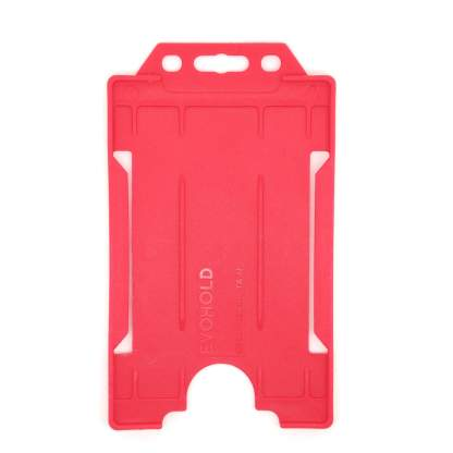 Sided Rigid Plastic ID Holder (Vertical / Portrait) (Red)