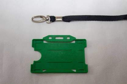 Black 10mm Lanyard with Green Single Sided Card Holder