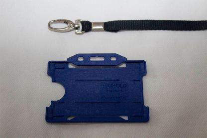 Black 10mm Lanyard with Navy Blue Single Sided Card Holder