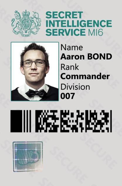 Custom James Bond 007 Spy Novelty ID Card