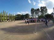 Students playing Sekap Takraw