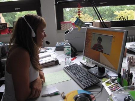 Lena Wink talks with Saythong Insarn via Skype