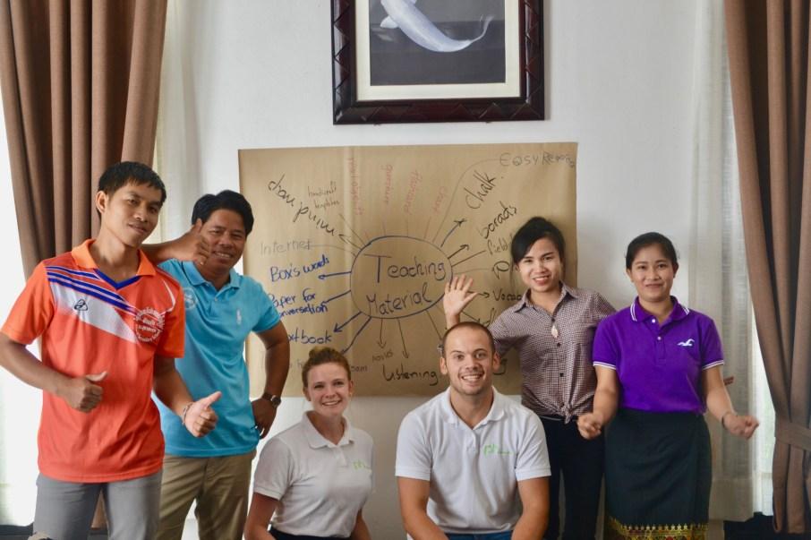 "German volunteers with their motivated ""tandem-teachers"" (from left): Bonleud Sengsavangvong, Souvanh Navong, Anika Broghammer, David Schrep, Donekeo Keositthivong, Souksakhone Sindavan"
