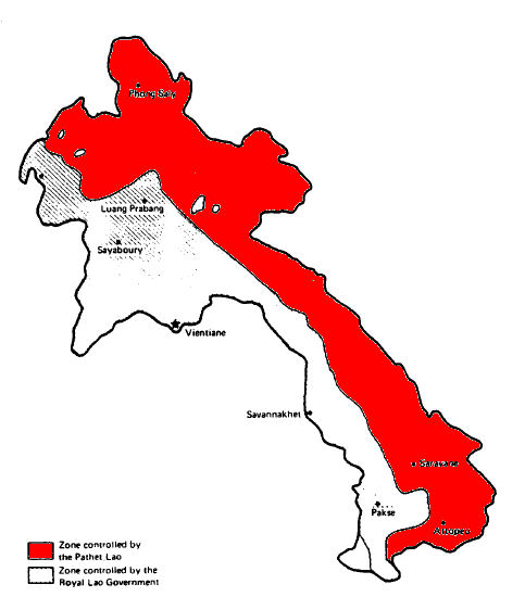 Figure 1: Borders of the areas controlled by the RLG (white) and the Pathet Lao (red) around 1964. Source: http://www.globalsecurity.org/jhtml/jframe.html#http://www.globalsecurity.org/military/world/laos/images/map-pathet-lao-02.jpg|||Pathet%20Lao%20Map