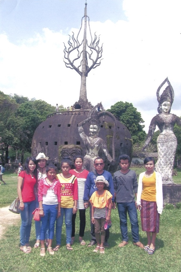 Donekeo and her family at the Xiang Khoun Temple in Vientiane