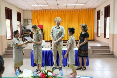 Anika Broghammer congratulates her tandem-teachers Donekeo Keositvong & Souksakhone Sindavan (teachers at Phang Heng secondary school)