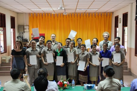 """All """"non-English"""" teachers at Phang Heng secondary school with their certificates (teachers who do not teach English, but also learn English)"""