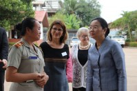 Director of the primary school, Ms Souphaphone Vongphachan, welcomes the Minister
