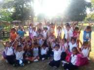 """Some children of Ban Sikeud Primary School after """"Activity Time"""" in the afternoon"""