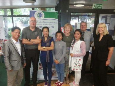 Souvanh, Lee Shutler (Director of Studies), Phovang, Donekeo, Samantha (administration), me, Martin (Finance) and Lynne Hoenes (Marketing) from Hilderstone College