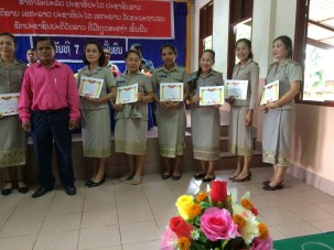 Teachers were given certificates for special commitments at school